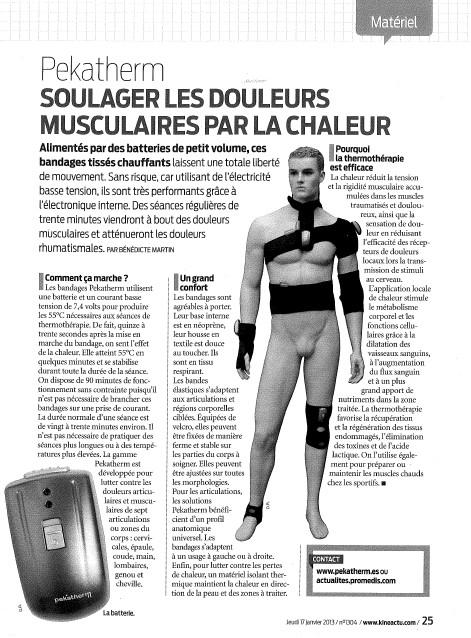 Article consacré à Pekatherm, les bandages chauffants